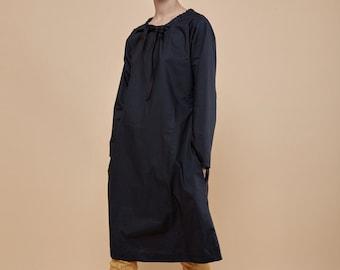 NEW! black dress with pockets - tunic dress - cotton dress - midi dress - oversized dresses for women - A line dress - knee length dress