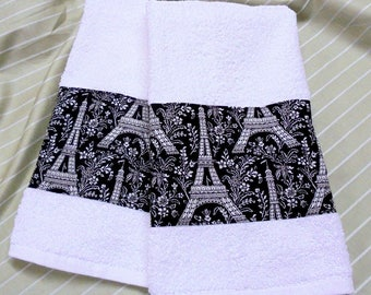 Custom Decorated Hand Towels -  Micheal Miller Fabric PARIS EIFFEL TOWER  - White Hand Towels