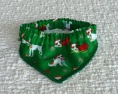 "Dog Bandana, Dog Scrunchie, Dogs in Santa Hats Bandanchy with petite pom pom trim - Size L: 16"" to 18"" neck"