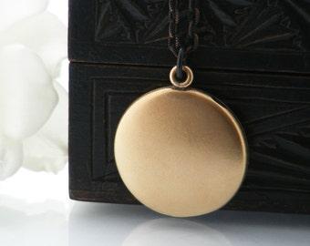Antique Locket   Matte Gold Victorian Locket Necklace   Vintage Large Plain Round Bloomed Gold Photo Locket - 34 Inch Long Matte Black Chain