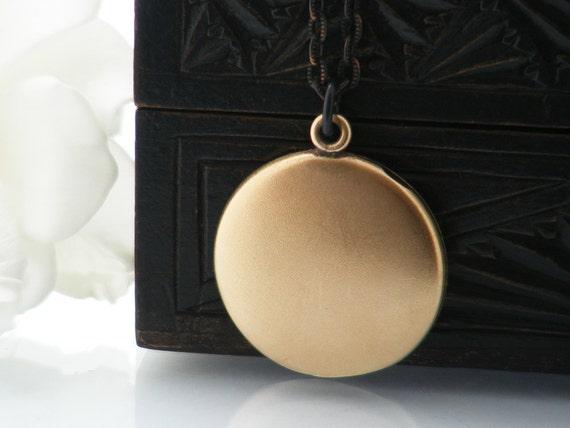 Antique Locket | Matte Gold Victorian Locket Necklace | Vintage Large Plain Round Bloomed Gold Photo Locket - 34 Inch Long Matte Black Chain
