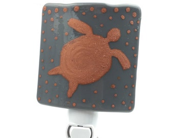 Night Light, Copper Sea Turtle, Gray Stained Glass