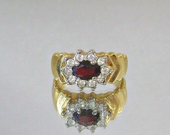 CHRISTMAS SALE Vintage Garnet Ring and Cubic Zirconia Gold