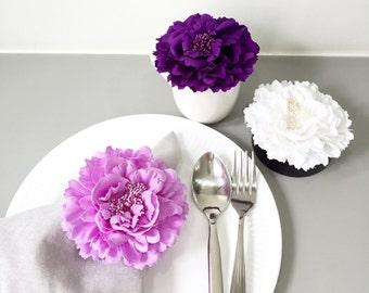 9 Pieces.Romantic Lavender Purple White 4.2inch Peonies Floral Napkin Holders Flower Napkin Rings. Purple White Wedding Bridal Table Decor