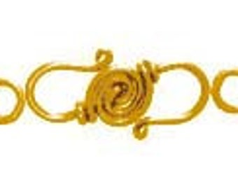 Take 15% off with 15OFF20, ONE 24kt Gold Vermeil Spiral Hook Clasps, 24mm x 9mm, includes (2) 6mm closed jump rings, artisan-made supplies