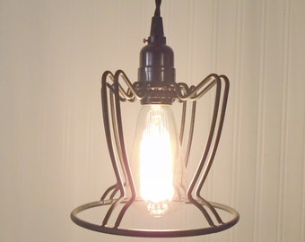 Vintage Industrial Cage PENDANT Light with Edison Bulb