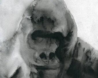Gorilla Original watercolor painting 8x10inch