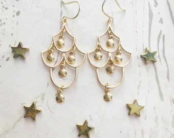 Gold Filigree Earrings Fairytale by MinouBazaar