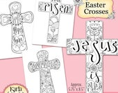 50% OFF SALE Easter Crosses Coloring Collection Color Your Own INSTANT Download Scripture Digital Printable Christian Religious