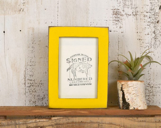 4x6 Picture Frame in 1x1 Flat Style with Vintage Yellow Finish - IN STOCK - Same Day Shipping - 4 x 6 Photo Frame Rustic Colorful