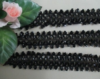 2+ Yards Authentic Black Glass Beaded Victorian Trim