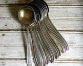 Vintage Spoons, Silver Spoon  Lot, Soup Spoon Lot, Round Bowl Soup Spoons, Mongrammed Handle Spoons, Silverware Lot, Silverware Craft Lot