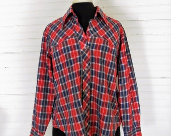 Vintage Shirt, Western Shirt, Ladies Red White and Blue Plaid Button Down Shirt, Size 1980s Western Shirt Size Large, Long Sleeve Western