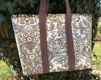 Sophisticated and hip brown and white toile and leopard oilcloth tote bag