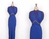 SALE... Vintage 1930s Dress / 30s Grecian Rayon Gown / Blue (XS extra small)