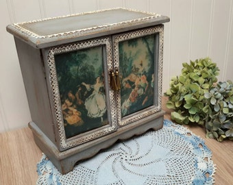 Paris Grey French Armoire Jewelry Box
