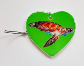 Speedy Sea Turtle Holiday Christmas ornament heart shaped porcelain ready to hang