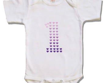 Heart first Birthday girl shirt - Personalized birthday shirt -