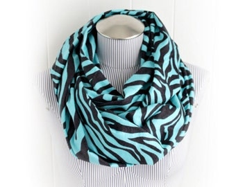 Zebra Flannel Infinity Scarf, Animal Print Teal and Black Flannel Loop Scarf