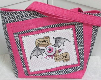 Pink and Grey Flying Eyeball Large Tote Bag Evil Eye Shoulder Bag Born Weird Alternative Fashion Purse Ready to Ship