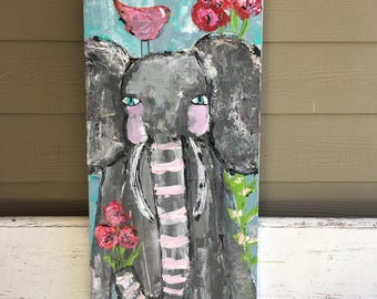Elephant painting, 16 x 40 (1.5 deep profile) whimsical art, flowers and bird, nursery art, girls wall art, original painting