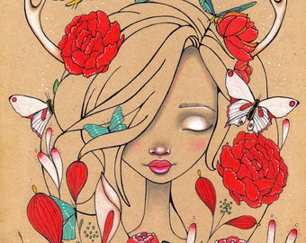 Sleeping Beauty Original Art Giclee fine art print 8x10, ink, flowers, poppies fairy tales
