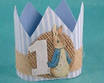 Peter Rabbit mini birthday crown, burlap, crown, one, A177 _ first birthday photo prop