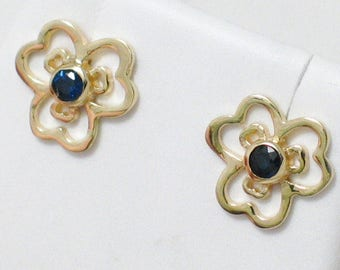 Dainty 14k Gold sapphire gemstone earrings flower Our version of pandora posy pansy floral theme blue solitaire post / stud earrings