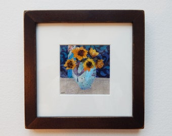 Sunflowers - original framed fabric collage