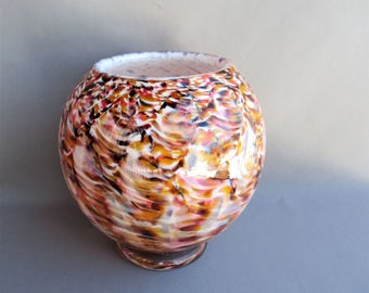 Hand Blown Art Glass  Round Vase on Foot,Amber Mix Color.