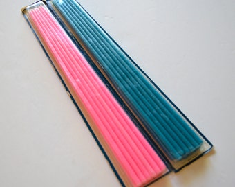 Vintage GURLEY CANDLE Tiny Taper Candles 2 Boxes Pink & Blue 24 Candles Total
