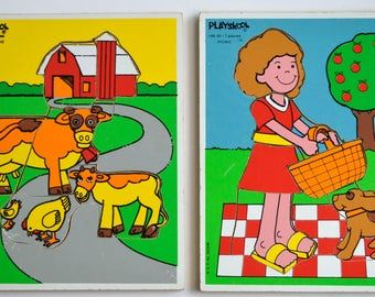 Vintage Playskool Wooden Puzzle Set of Two Girl Picnic & Farm Animals