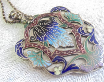 Art Nouveau Sterling Enamel Dance Card Necklace Victorian Necklace Enamel Necklace Art Nouveau Necklace Art Nouveau Jewelry