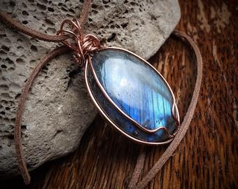 Labradorite pendant - natural blue flash labradorite necklace - wire work pendant - unique one of a kind