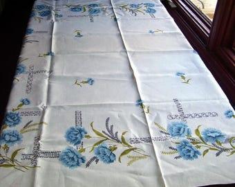 Linen Summer Tablecloth with Print On Aqua Blue Flowers, Casual Elegant Table Cloth, Home Decor, Designer Fabric, Shabby Chic Decor