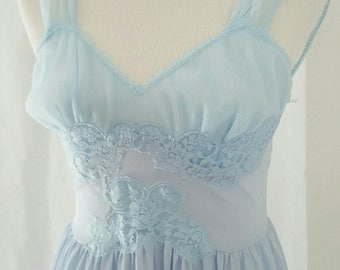Vintage Baby Blue Chiffon Ballerina Nightgown Kayser 32 XS
