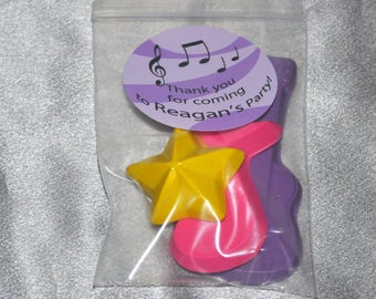 Music Party Favors Crayons Rock Star, Total of 60 Crayons and 20 Stickers, Party set for 20 Kids.  Boy or Girl Kids Party Favors, Crayons.