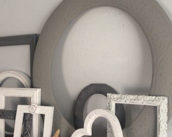 Instant  Frame Set Set of NINE frames Grey White or You Pick Color Salon Open Frame Grouping Architectural Eclectic White Wedding Nursery