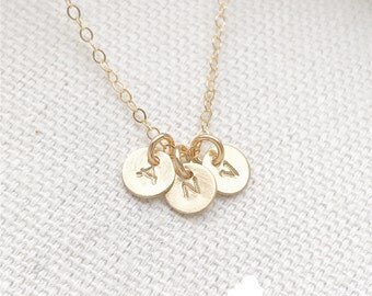 """SALE - Tiny Customized Initial 1/4"""" Triple Disc Necklace in gold - Little Disc Charms - Personalized - Bridal Gift - thelovelyraindrop"""