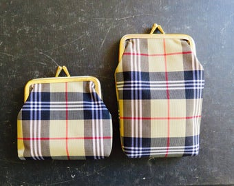 Vintage Pair of Plaid Coin Purses Snap Clasp Dime Store Organizers