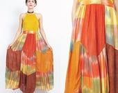 FLASH SALE Vintage SANDRO Paris Skirt Patchwork Maxi Skirt Designer Handkerchief Hem Skirt Ikat Orange Plaid Skirt Stretchy Elastic Waist Xs