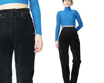 80s Suede Leather Pants Black Suede Pants High Waisted Leather Pants Paneled Leather Pants Moto Biker Winter Leather Trousers (XS/S)