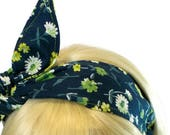Cute Teen Headbands, Blue and Green, Womens Headbands, Wired Headband, Head Bands,  Reversible Headband with Bow, Hair Accessories for Women