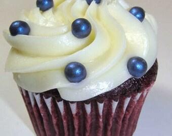 Fondant Edible Pearls Dark Blue, Vanilla flavored 8mm Qty 100 pearls - Cupcake Topper Cake Decoration