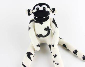 Baby Birthday Gift Handmade Black White Sock Monkey Stuffed Animal Doll Baby Toys