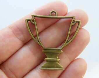 1 Trophy cup charm antique bronze tone BC174
