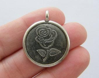 4 Rose pendants antique silver tone BOX9
