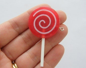 3 Lollipop red pendants FD303