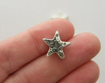 10 Star spacer beads antique silver tone S51