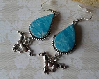 Horse Earrings,Larimar Earrings,Western